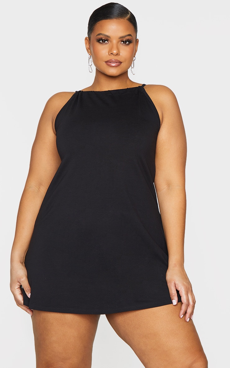 Basic Plus Black Cotton Blend Halterneck Bodycon Dress 1