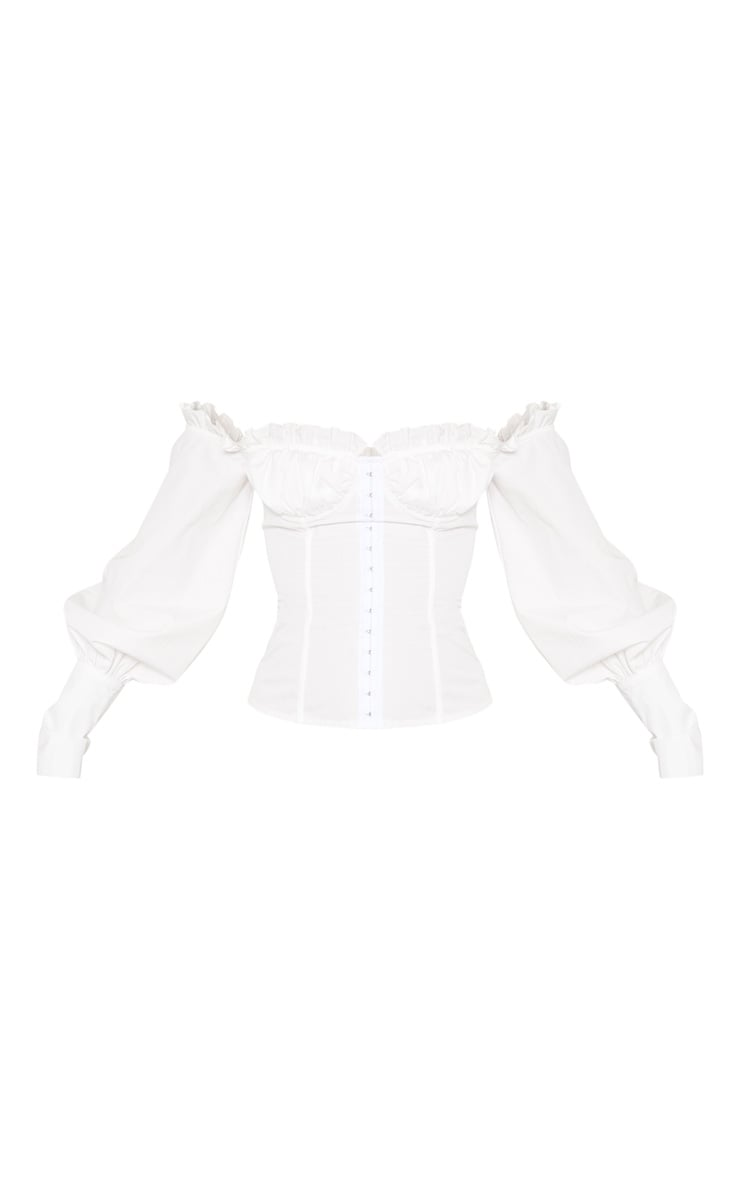 White Woven Frill Bardot Hook And Eye Shirt 3