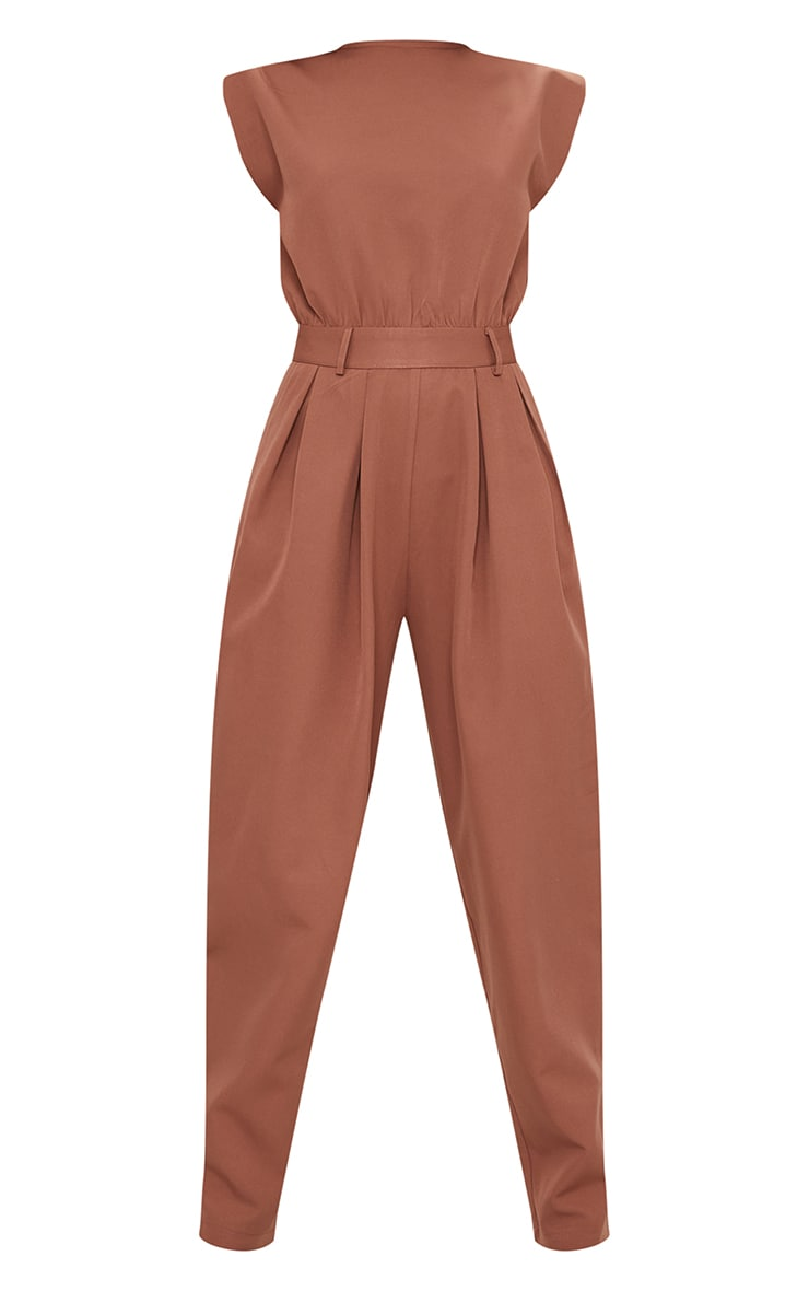 Chocolate Shoulder Pad Tailored Woven Jumpsuit 5