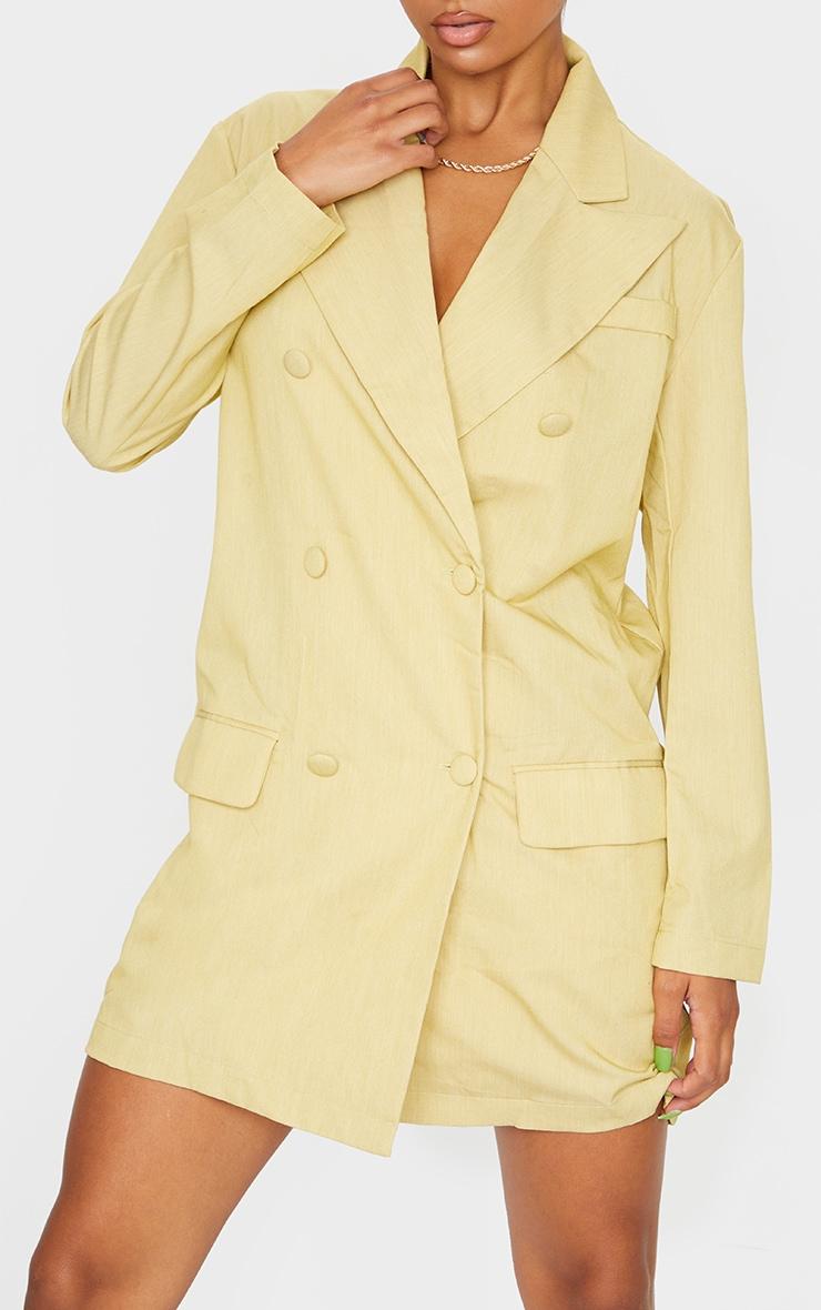 Light Lime Linen Button Front Blazer Dress 4