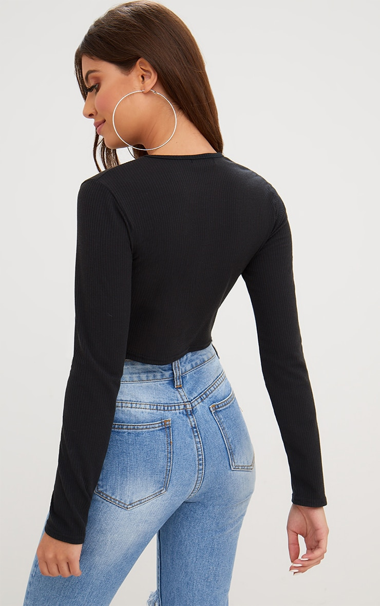 Black Ribbed Long Sleeve Crop Top 2