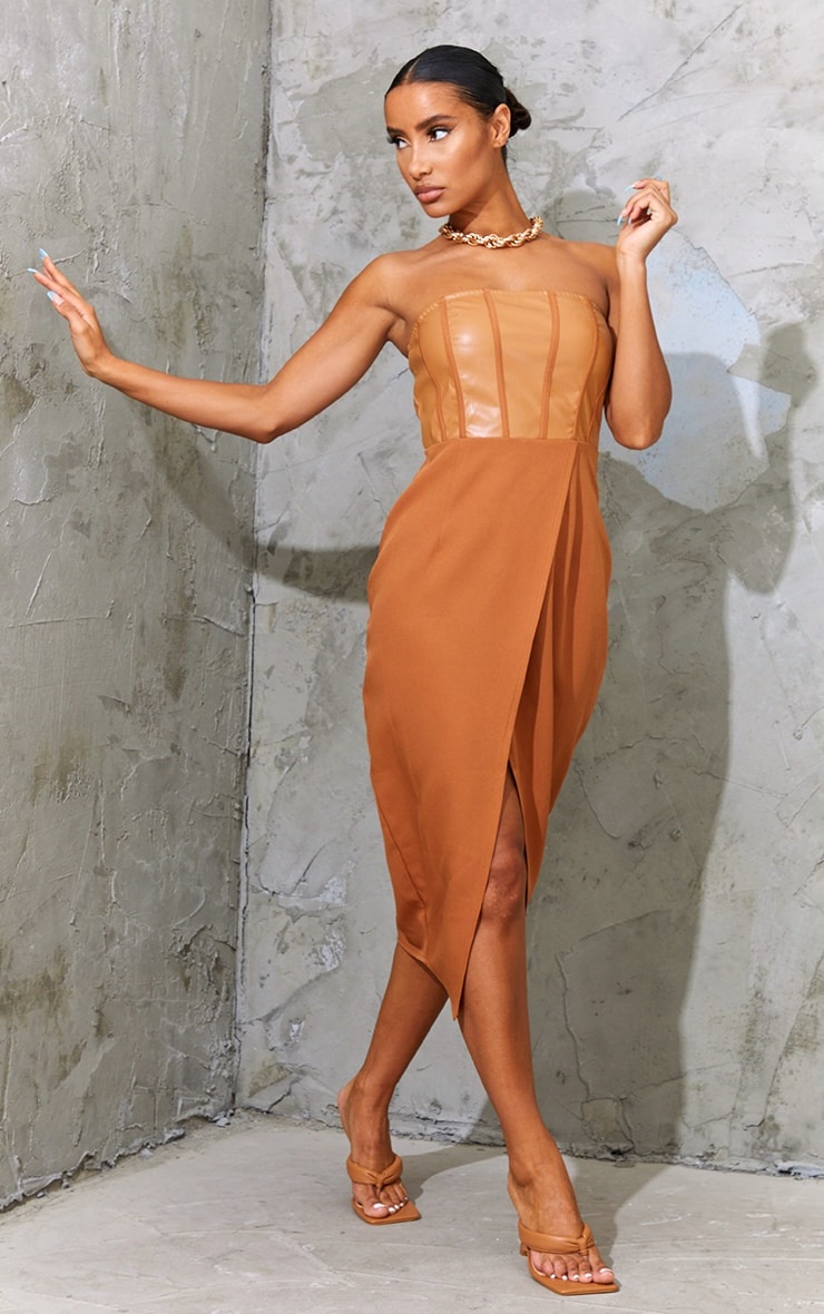 Tan PU Binding Detail Bandeau Midi Dress 1