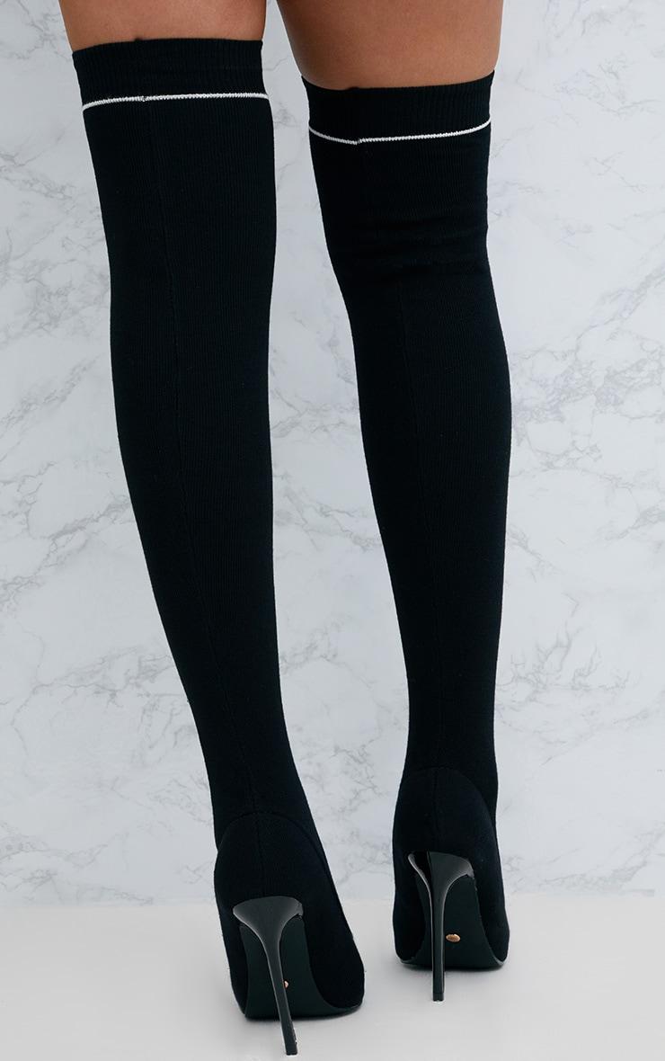 Black Sports Stripe Thigh High Sock Boot 4