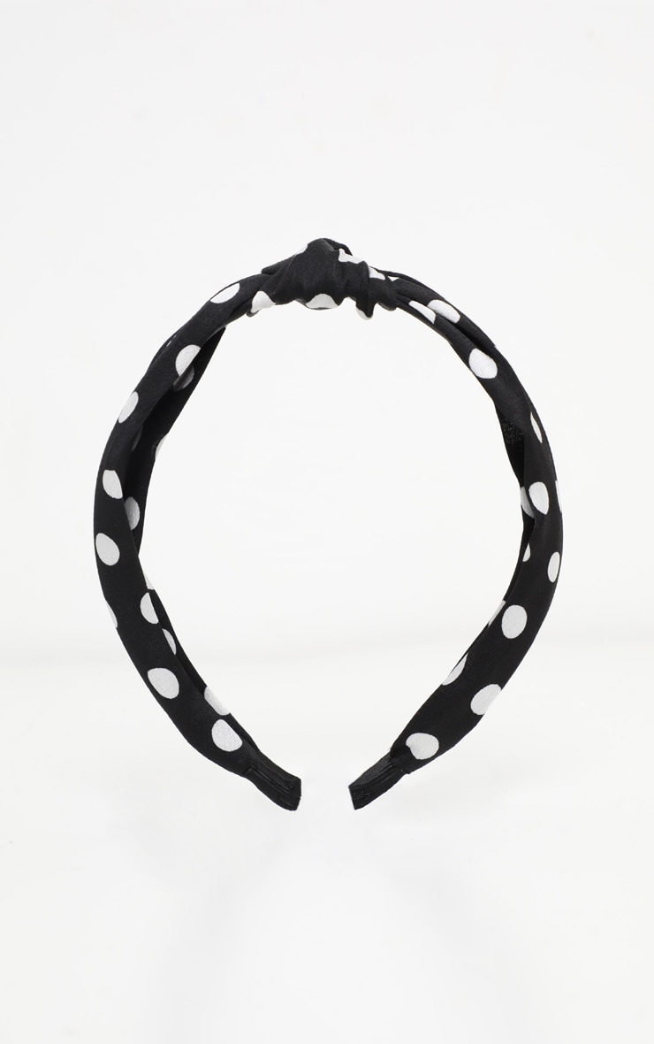 Black Polka Dotted Knotted Headband 2