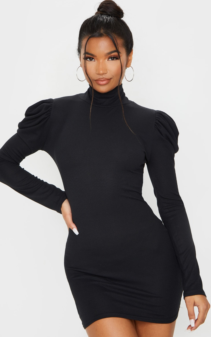 Black Rib Puff Sleeve High Neck Bodycon Dress 1