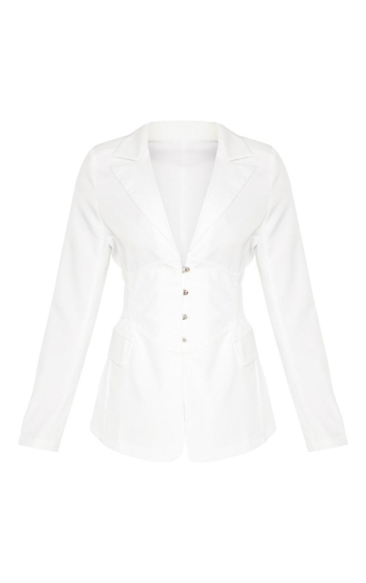 White Corset Woven Blazer 4