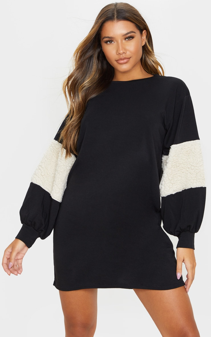 Black Borg Panel Oversized Sweat Jumper Dress 1
