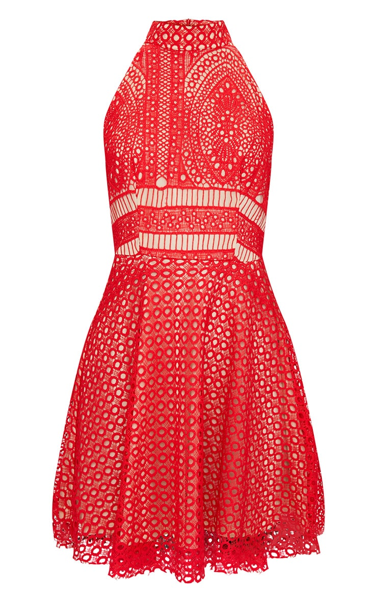 Red Lace High Neck Skater Dress  3