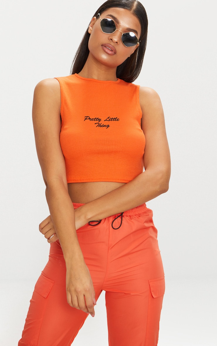 PRETTYLITTLETHING Orange Rib Slogan Vest Top