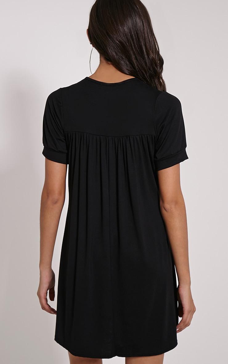 Basic Black Button Down Cap Sleeve Swing Dress 2