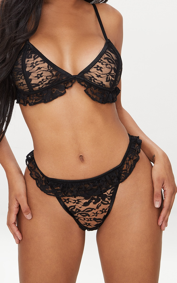 Black Contrast Binding Lace Frill Thong
