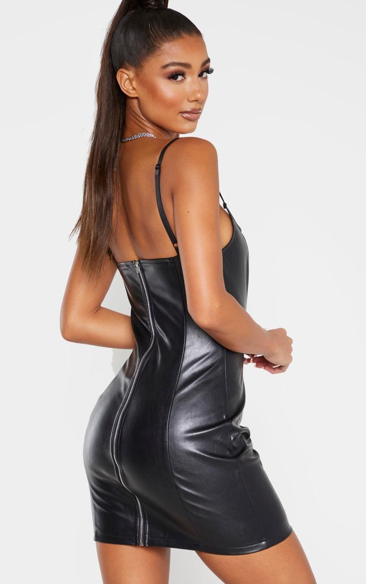 Black Matte PU Bodycon Dress 2