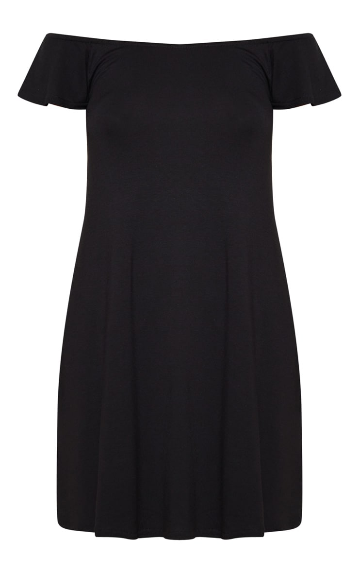 Basic Black Jersey Bardot Shift Dress 3