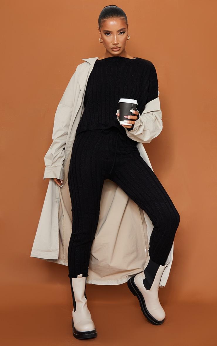 Black Cable Knit Sweater & Legging Set 3