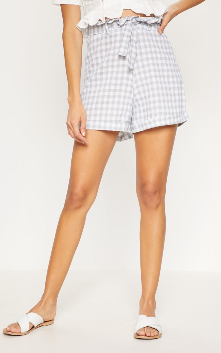 Grey Gingham Tie Waist Short 2