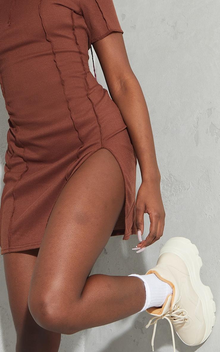 Chocolate Ribbed Overlock Seam Split Hem Short Sleeve Bodycon Dress 4