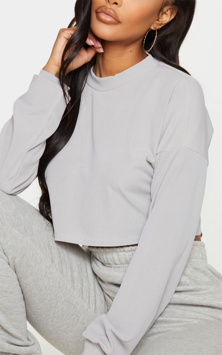 Shape Grey Marl Ribbed Long Sleeve Extreme Crop Top 4