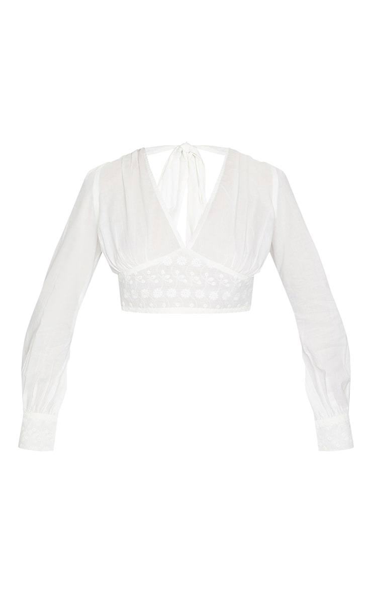 Cream Plunge Embroidered Long Sleeve Crop Top 5
