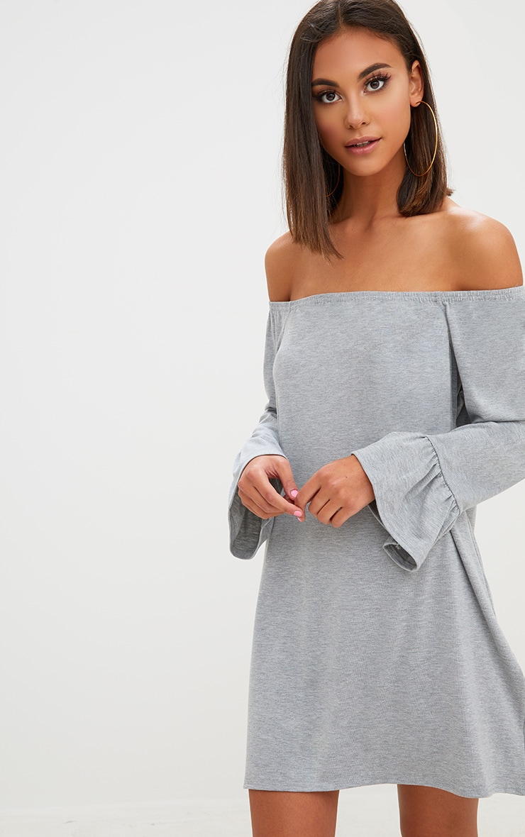 Grey Marl Jersey Bardot Long Sleeve Shift Dress 1