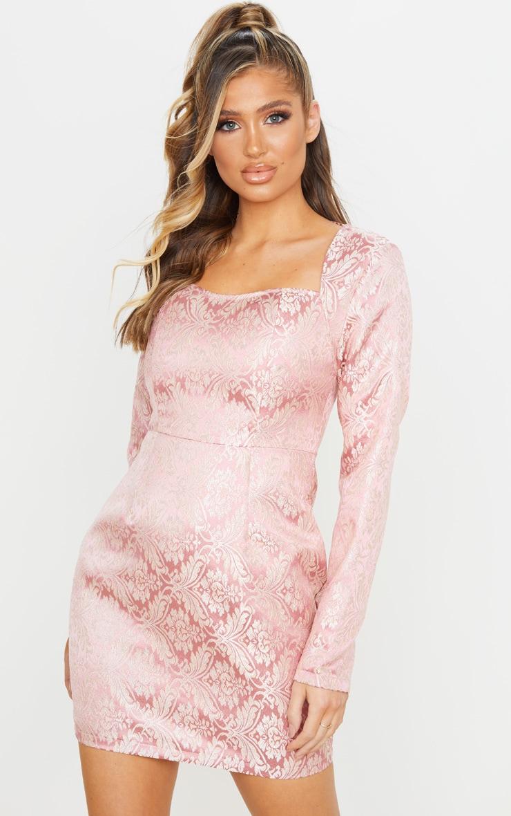 Pink Long Sleeve Jacquard Bodycon Dress 1