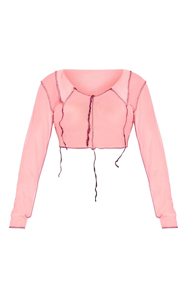 Shape Pink Mesh Overlock Seam Collar Detail Crop Top 5