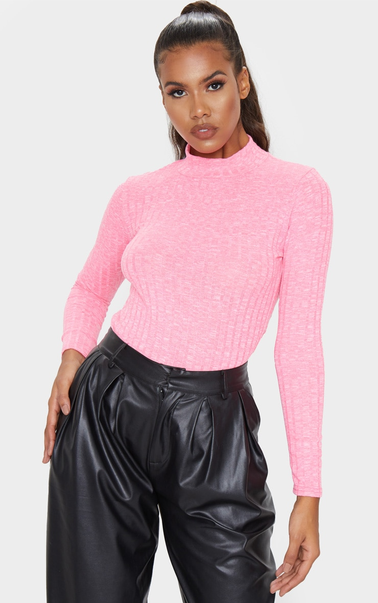 Hot Pink High Neck Long Sleeve Top 4