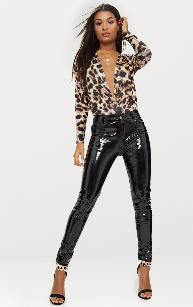 Tan Slinky Leopard Print Longsleeve Thong Bodysuit 5
