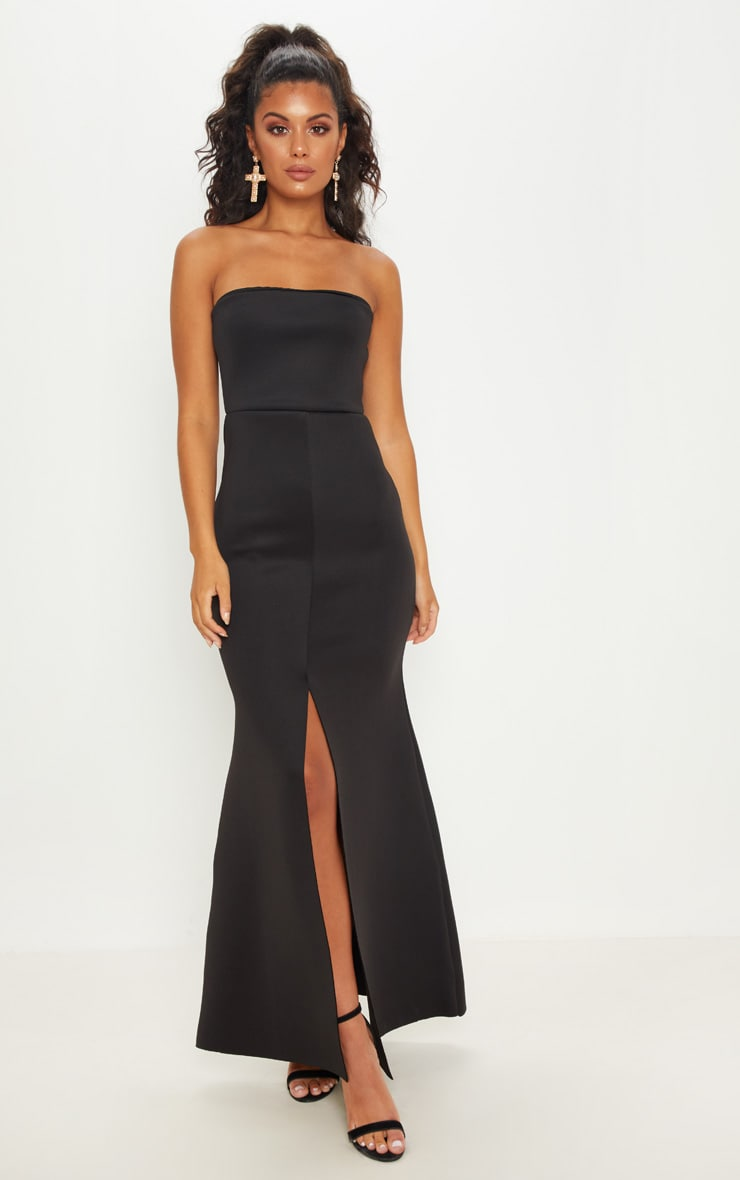 Black Bonded Scuba Bandeau Split Detail Maxi Dress