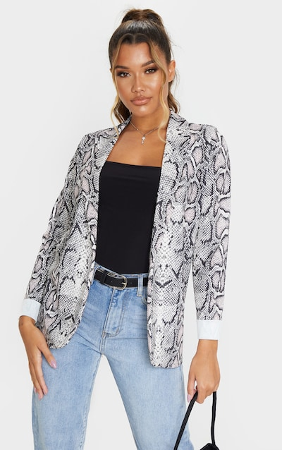 Cream Snake Print Crepe Turn Up Sleeve Blazer