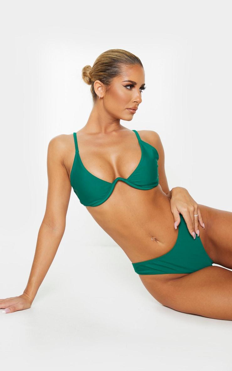 Emerald Green Underwired Plunge Bikini Top 1