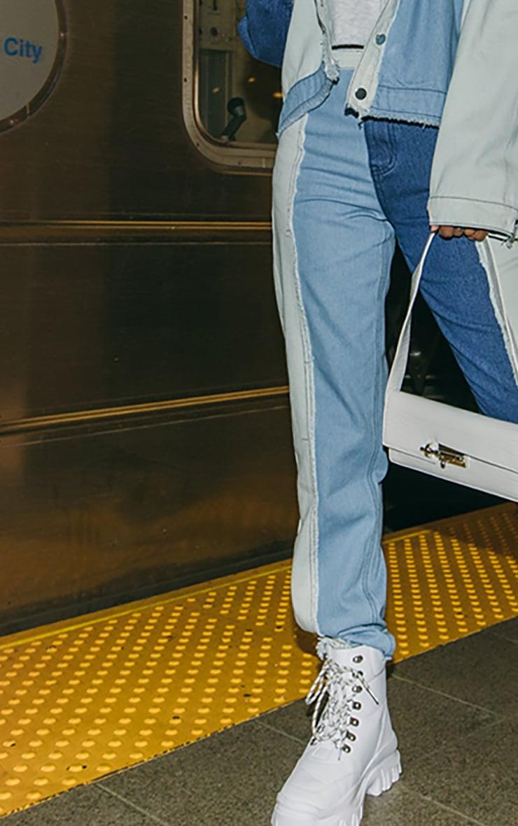 Blue Frayed Patchwork Mom Jeans 4