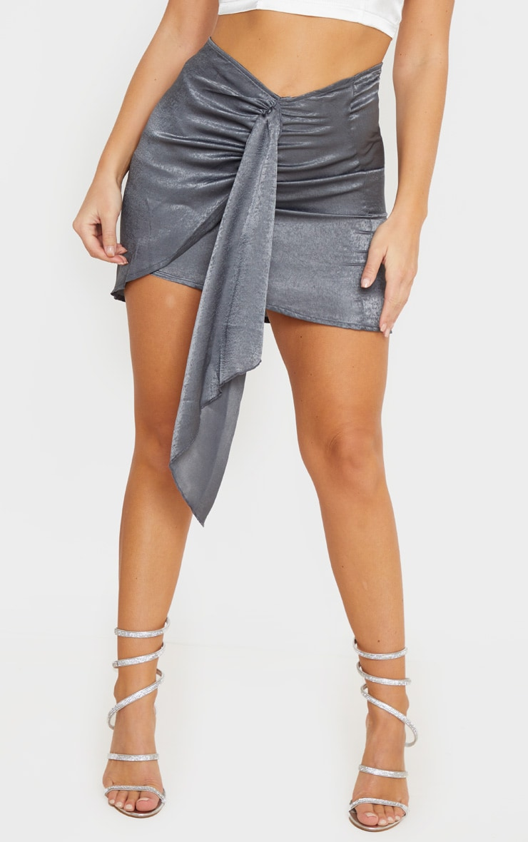 Charcoal Satin Wrap Tie Detail Mini Skirt  2