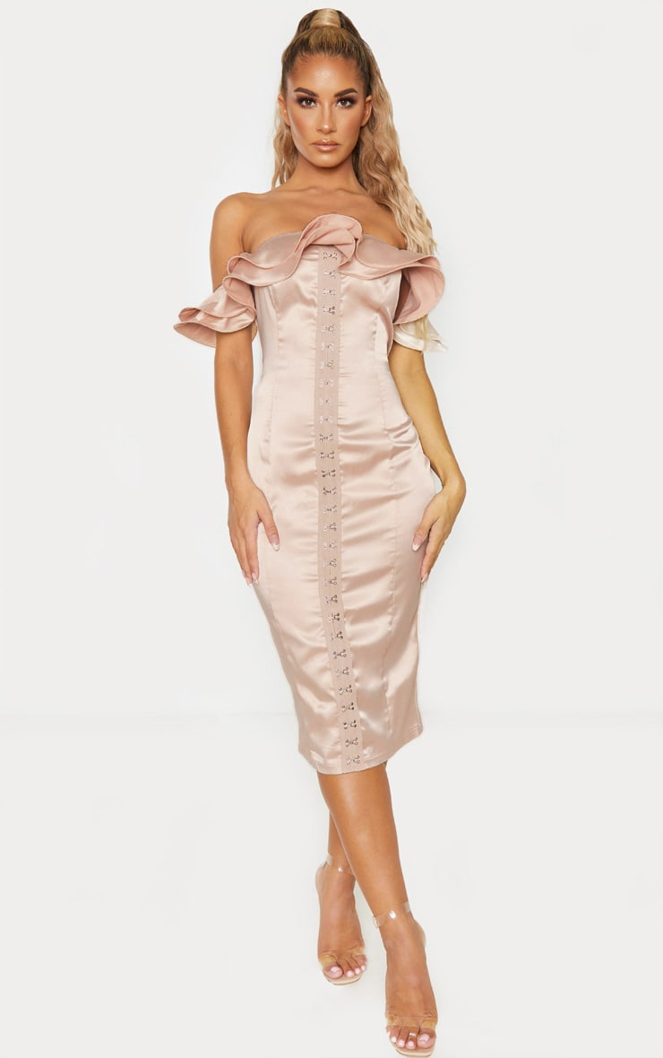 Champagne Ruffle Bardot Hook And Eye Midi Dress 1