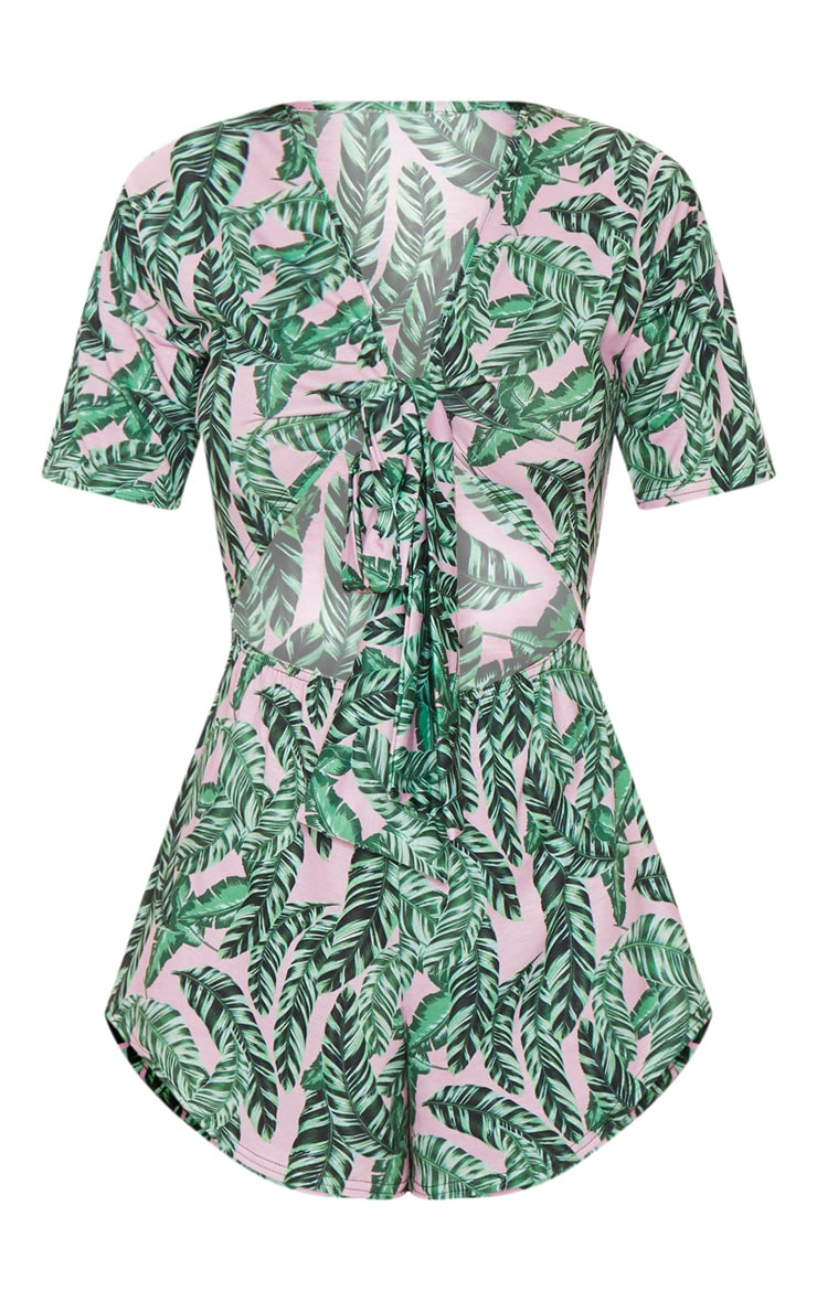Pink Palm Short Sleeve Jersey Tie Front Playsuit 3