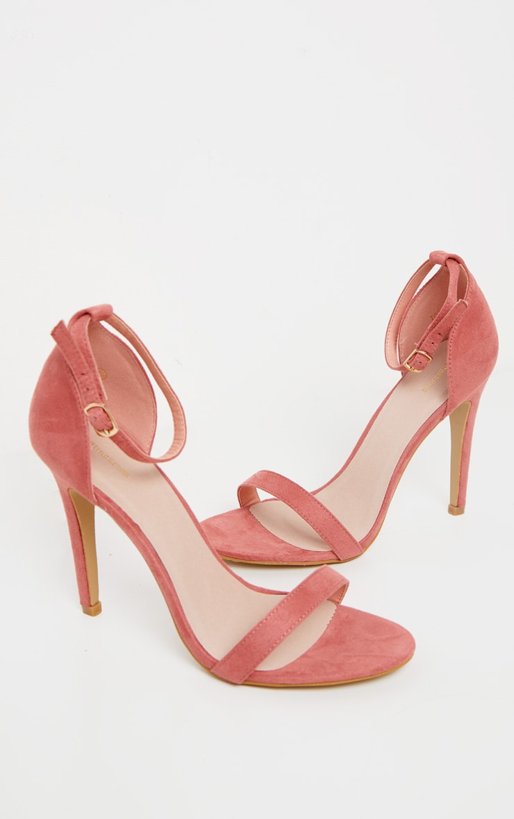 Clover Rose Pink Suede Strap Heeled Sandals 3