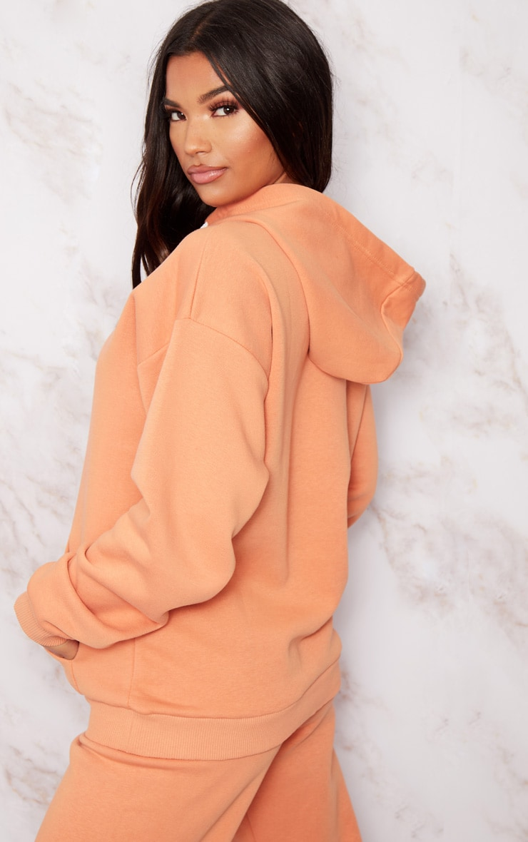 PRETTYLITTLETHING Chestnut Embroidered Oversized Hoodie 2
