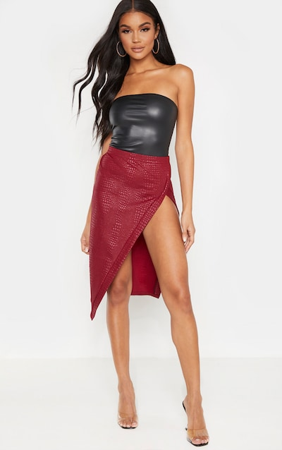 Wine Embossed Croc Extreme Split Midi Skirt