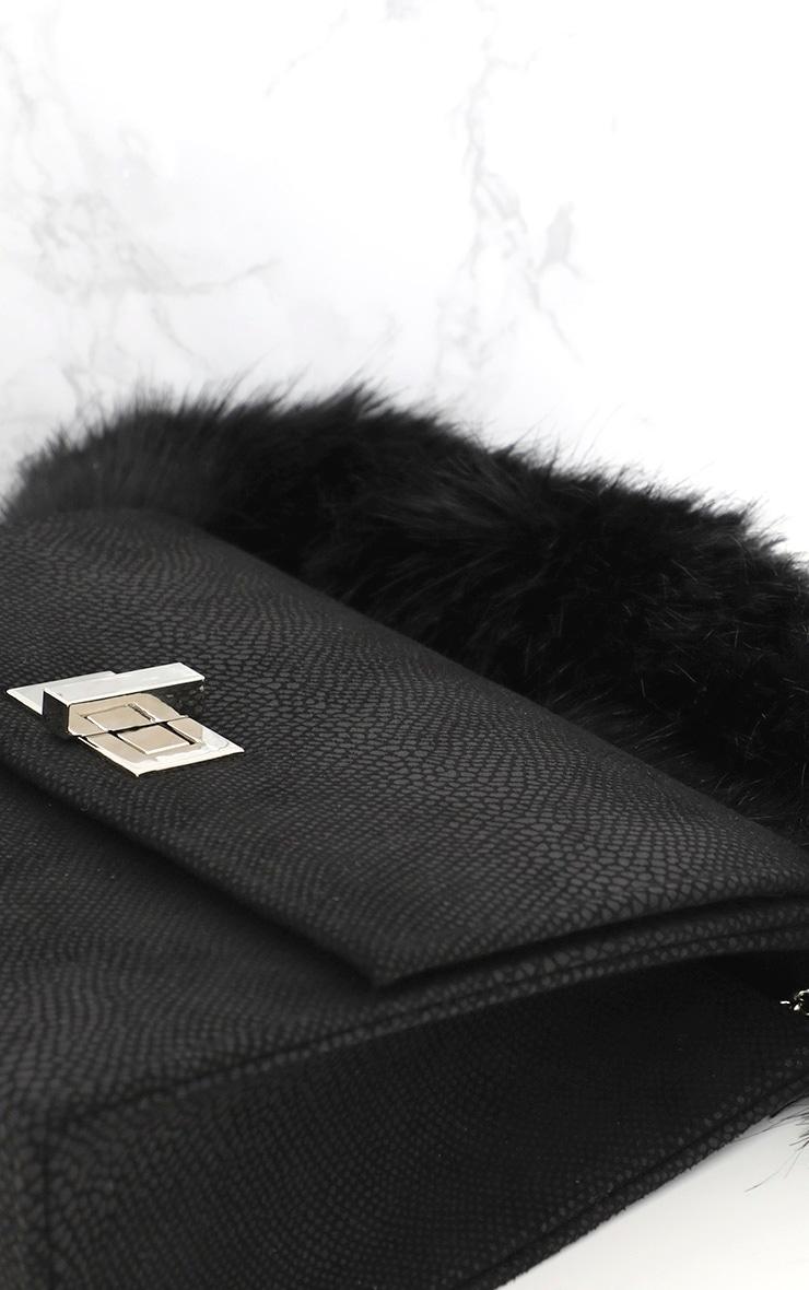 Black Faux Fur Handle Shoulder Bag 6