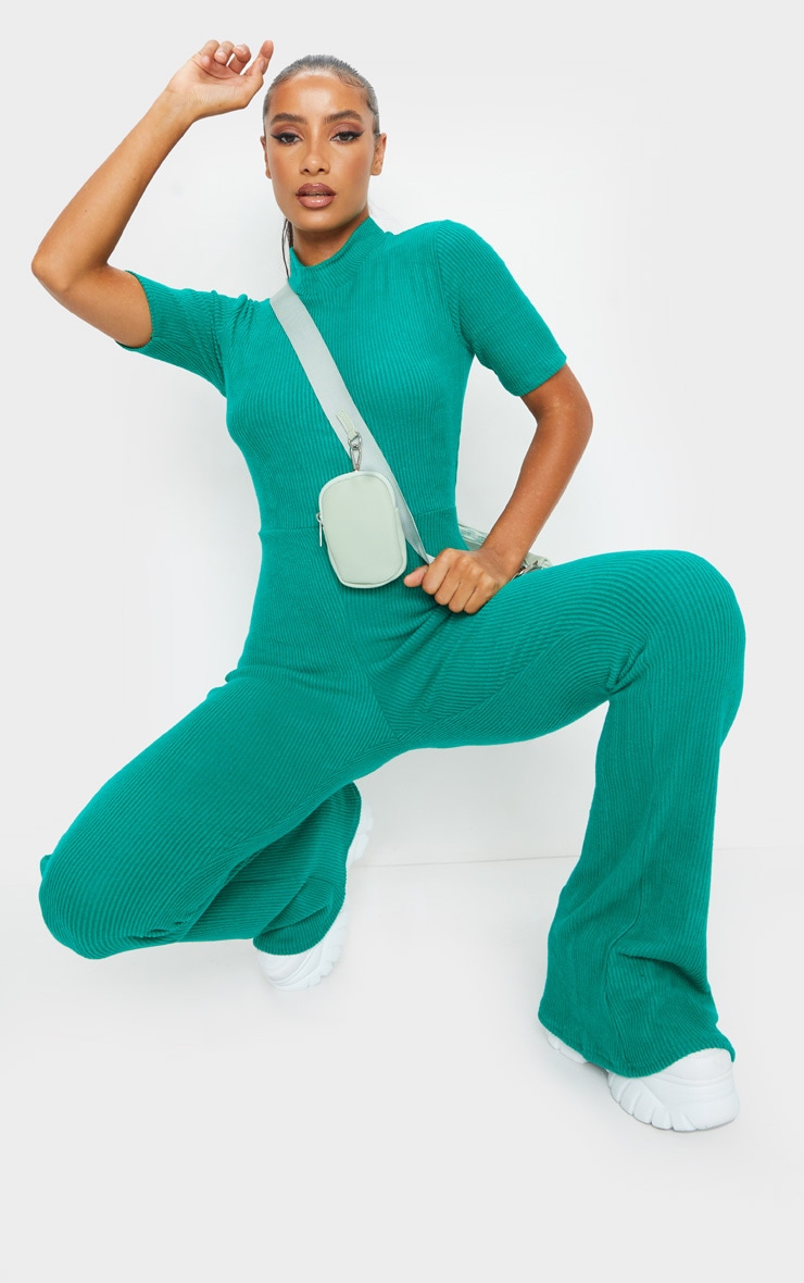 Emerald Green Brushed Rib High Neck Flared Jumpsuit 1