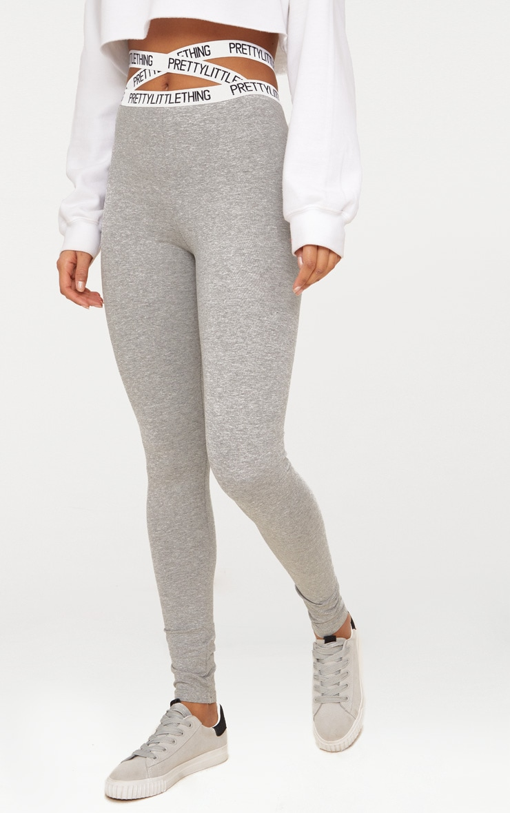 PRETTYLITTLETHING Grey Marl Strappy Waist Leggings 2