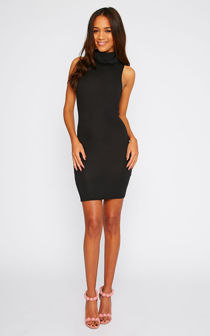 Hazel Black Roll Neck Knitted Dress 3