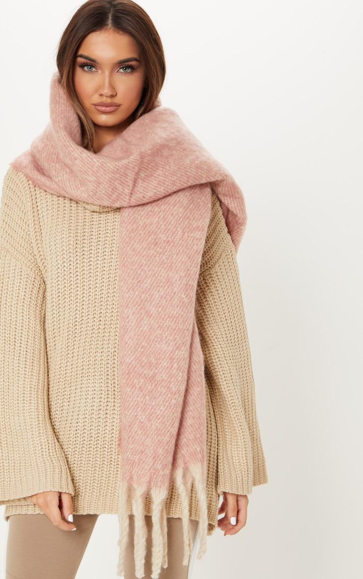 Pink Oversized Tassel Blanket Scarf