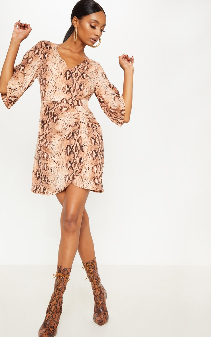 Brown Chiffon Snake Print V Neck Ruched Front Dress 4