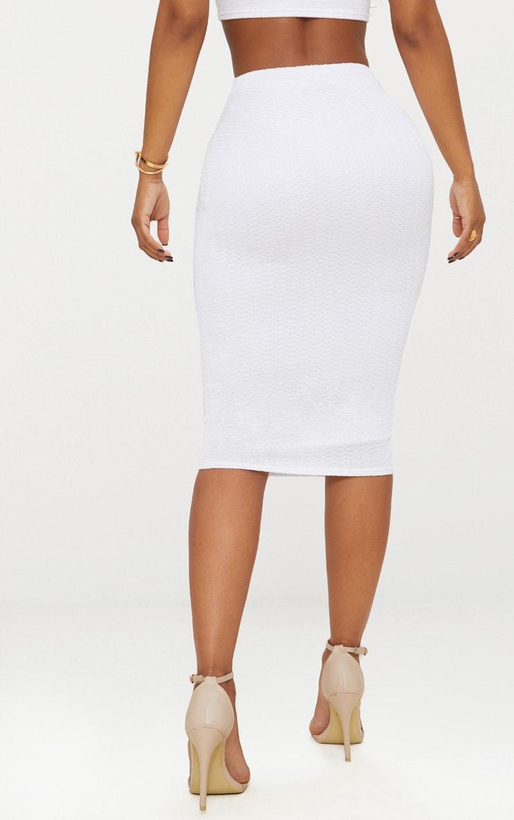 Shape White Textured Midaxi Skirt 2