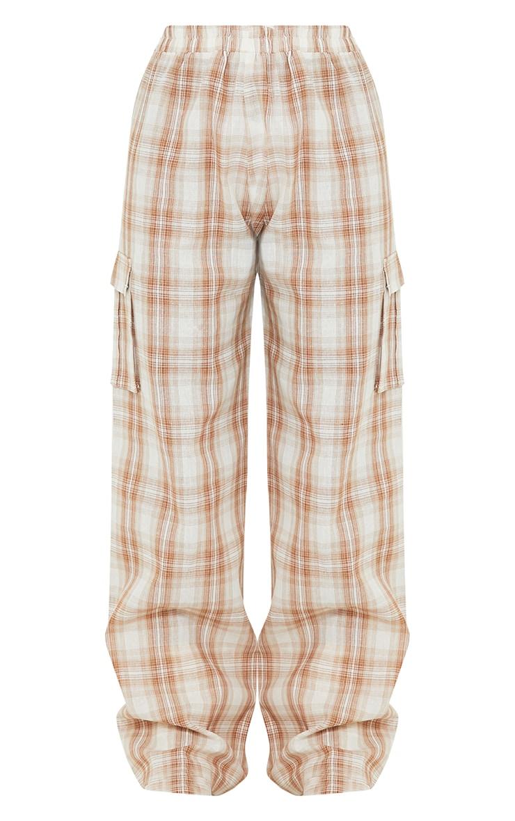 Stone Check Wide Leg Cargo Pants 5