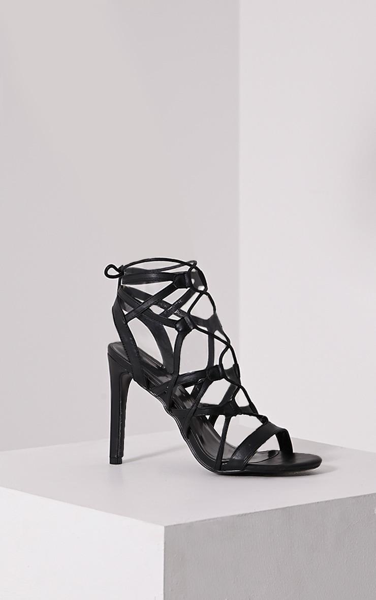 Varah Black Lace Up Heeled Sandals 3