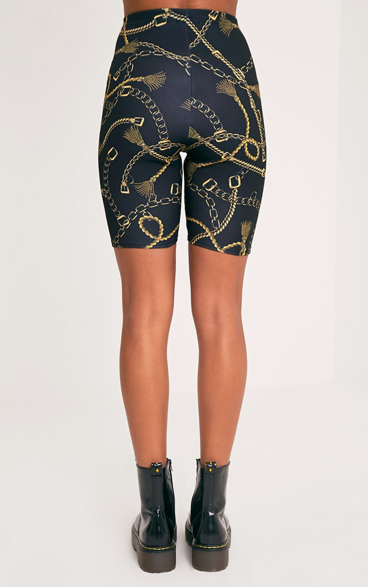Lavinia Black Chain Print Cycle Shorts 6