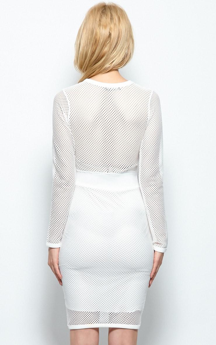 Brooke White Mesh Midi Dress 2