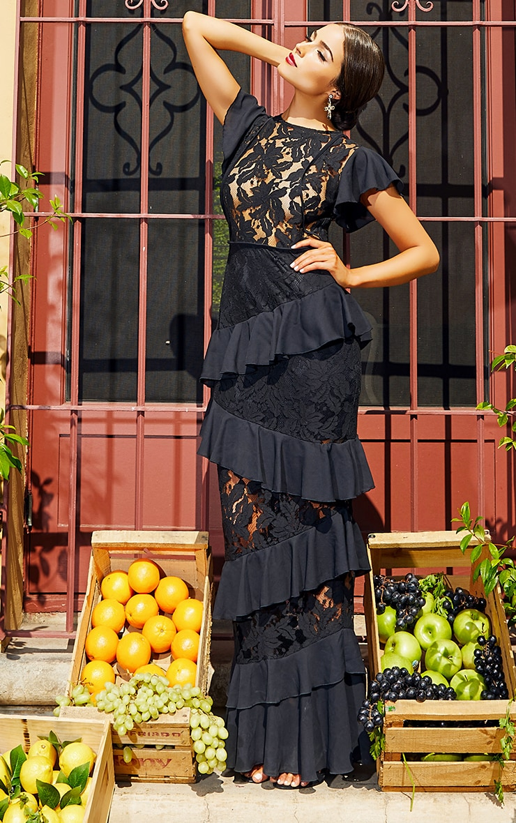 Black Lace Ruffle Detail Maxi Dress 2