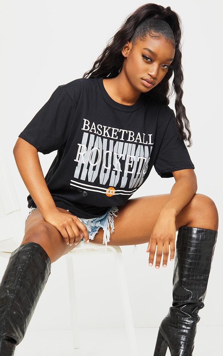 Black Basketball Rockets Printed T Shirt 3